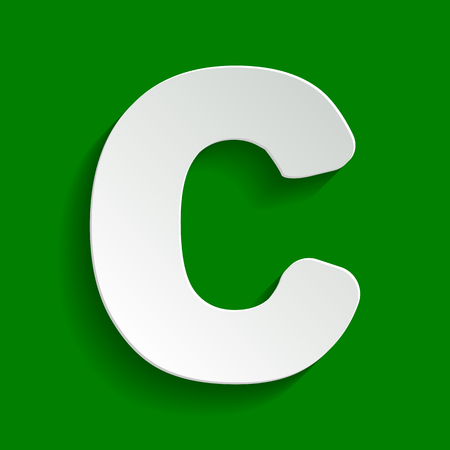 letter c: Letter C sign design template element. Vector. Paper whitish icon with soft shadow on green background.