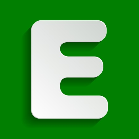 Letter E sign design template element. Vector. Paper whitish icon with soft shadow on green background. Illustration
