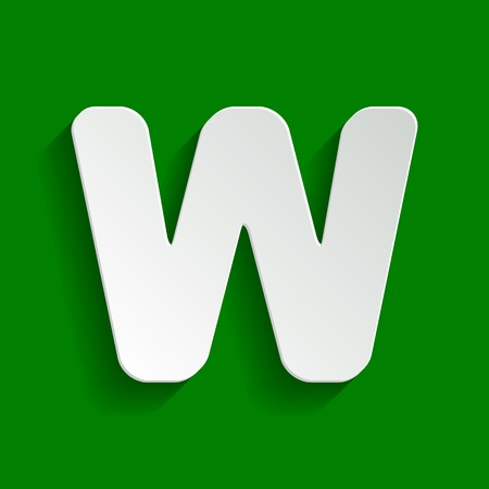 alphabetic character: Letter W sign design template element. Vector. Paper whitish icon with soft shadow on green background.
