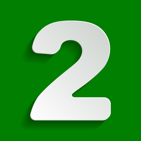 Number 2 sign design template elements. Vector. Paper whitish icon with soft shadow on green background. Illustration