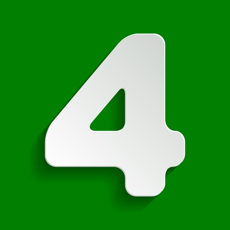 Number 4 sign design template element. Vector. Paper whitish icon with soft shadow on green background.