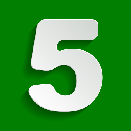 Number 5 sign design template element. Vector. Paper whitish icon with soft shadow on green background.
