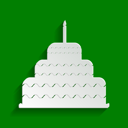 Cake with candle sign. Vector. Paper whitish icon with soft shadow on green background.