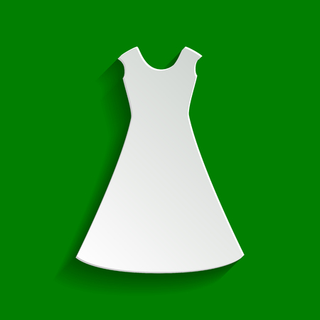 cor: Beautiful long dress sign. Vector. Paper whitish icon with soft shadow on green background.