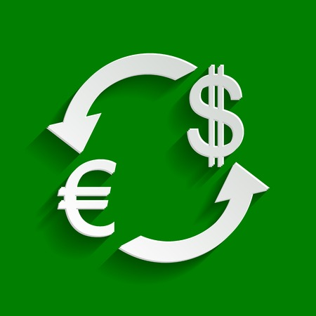 Currency exchange sign. Euro and Dollar. Vector. Paper whitish icon with soft shadow on green background. Illustration