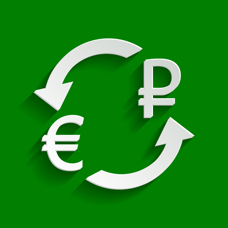 Currency exchange sign. Euro and Russia Ruble. Vector. Paper whitish icon with soft shadow on green background.