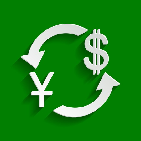 Currency exchange sign. China Yuan and US Dollar. Vector. Paper whitish icon with soft shadow on green background.