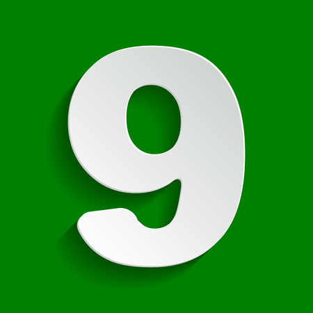 Number 9 sign design template element. Vector. Paper whitish icon with soft shadow on green background.