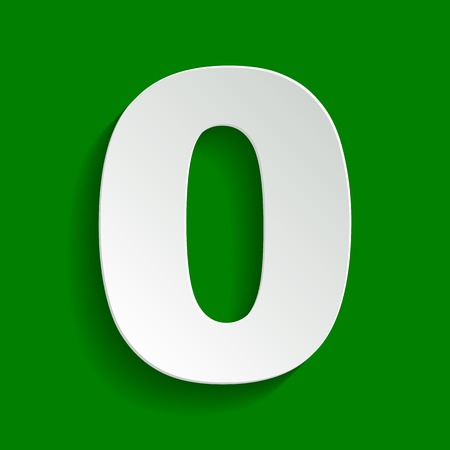 Number 0 sign design template element. Vector. Paper whitish icon with soft shadow on green background.