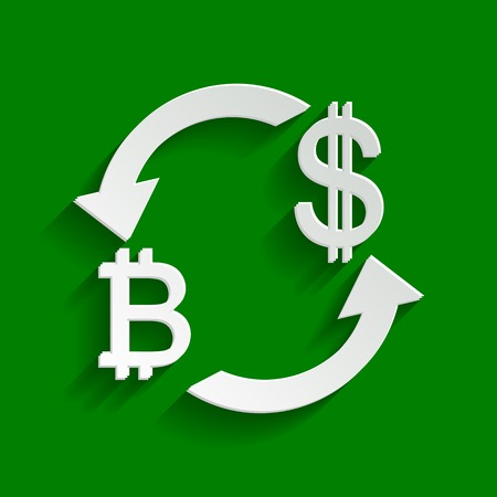 Currency exchange sign. Bitcoin and US Dollar. Vector. Paper whitish icon with soft shadow on green background.