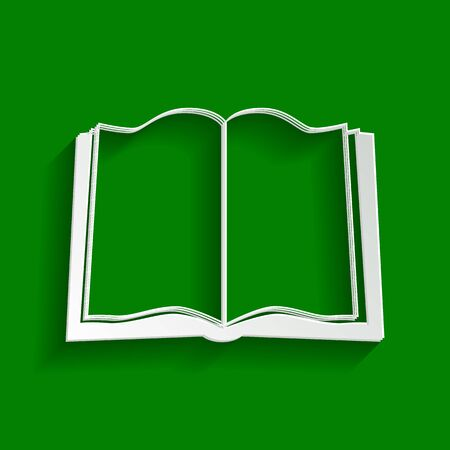 Book sign. Vector. Paper whitish icon with soft shadow on green background.