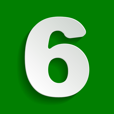 Number 6 sign design template element. Vector. Paper whitish icon with soft shadow on green background.