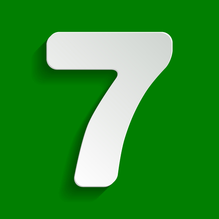 Number 7 sign design template element. Vector. Paper whitish icon with soft shadow on green background.