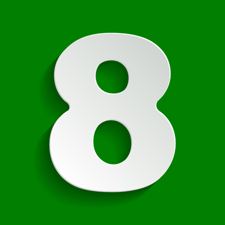 Number 8 sign design template element. Vector. Paper whitish icon with soft shadow on green background.