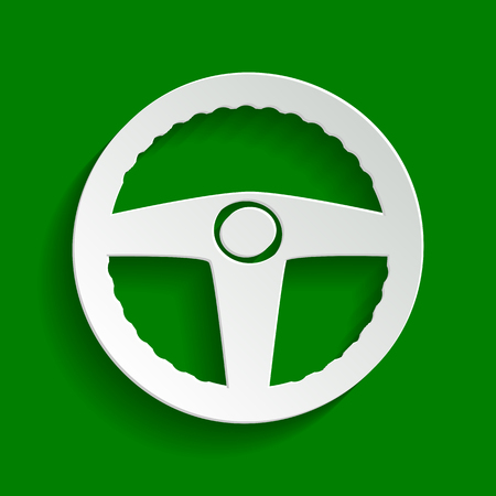 Car driver sign. Vector. Paper whitish icon with soft shadow on green background.