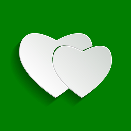 cor: Two hearts sign. Vector. Paper whitish icon with soft shadow on green background. Illustration