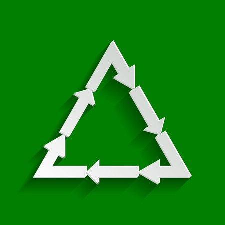 Plastic recycling symbol PVC 3 , Plastic recycling code PVC 3. Vector. Paper whitish icon with soft shadow on green background. Illustration
