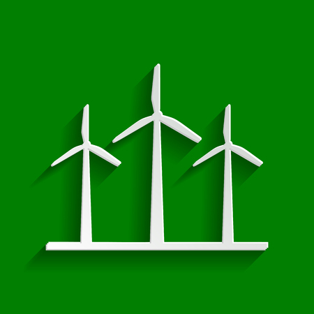 Wind turbines sign. Vector. Paper whitish icon with soft shadow on green background.