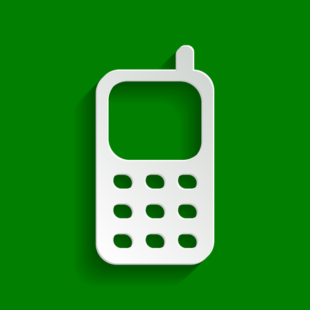 Cell Phone sign. Vector. Paper whitish icon with soft shadow on green background. Illustration