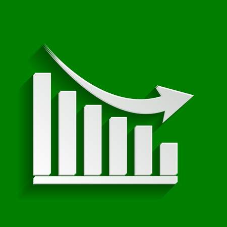 declining: Declining graph sign. Vector. Paper whitish icon with soft shadow on green background. Illustration