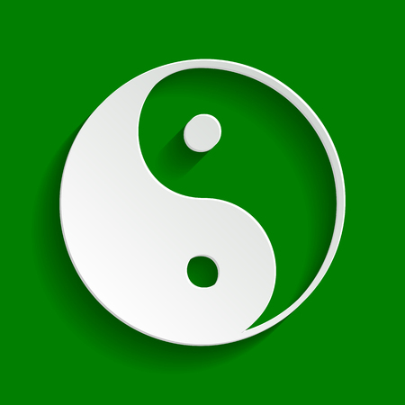 Ying yang symbol of harmony and balance. Vector. Paper whitish icon with soft shadow on green background.