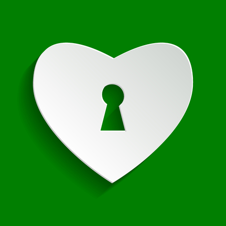 cor: Heart with lock sign. Vector. Paper whitish icon with soft shadow on green background.