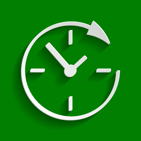 not open: Service and support for customers around the clock and 24 hours. Vector. Paper whitish icon with soft shadow on green background.