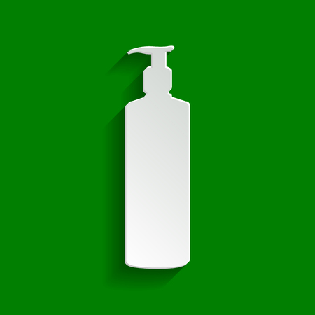 moisturizer: Gel, Foam Or Liquid Soap. Dispenser Pump Plastic Bottle silhouette. Vector. Paper whitish icon with soft shadow on green background.