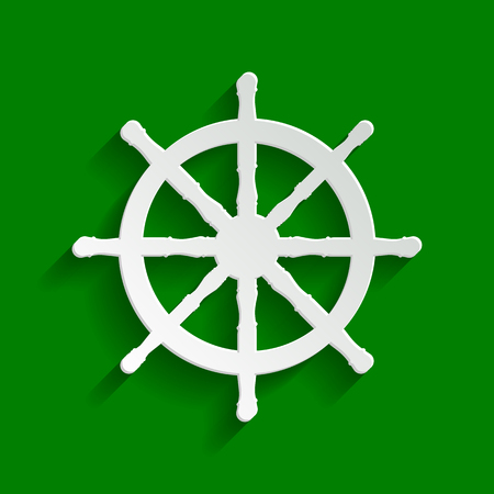 Ship wheel sign. Vector. Paper whitish icon with soft shadow on green background.