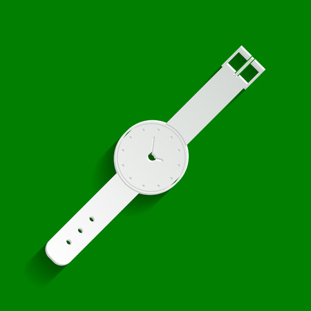 Watch sign illustration. Vector. Paper whitish icon with soft shadow on green background.