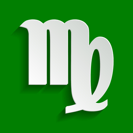 Virgo sign illustration. Vector. Paper whitish icon with soft shadow on green background. Illustration