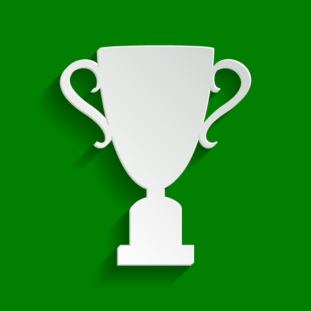 victor: Champions Cup sign. Vector. Paper whitish icon with soft shadow on green background.