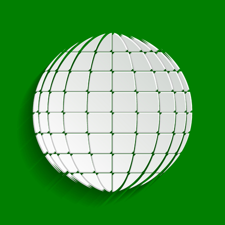 Earth Globe sign. Vector. Paper whitish icon with soft shadow on green background.
