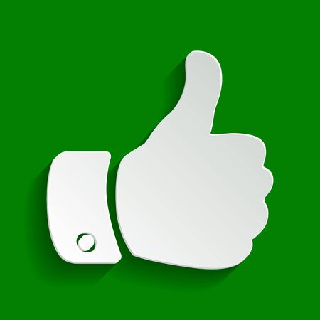 Hand sign illustration. Vector. Paper whitish icon with soft shadow on green background. Illustration