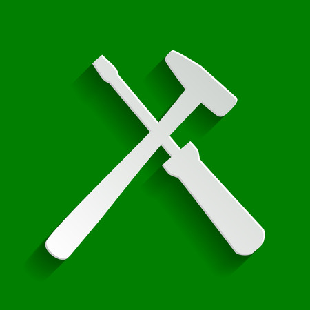 Tools sign illustration. Vector. Paper whitish icon with soft shadow on green background. Stok Fotoğraf - 81301294