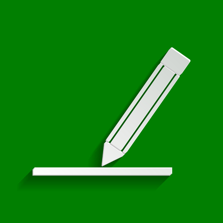 creator: Pencil sign illustration. Vector. Paper whitish icon with soft shadow on green background. Illustration