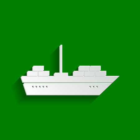 sea tanker ship: Ship sign illustration. Vector. Paper whitish icon with soft shadow on green background.