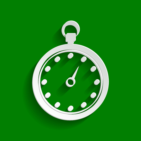 Stopwatch sign illustration. Vector. Paper whitish icon with soft shadow on green background.