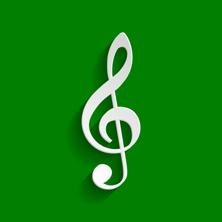 creator: Music violin clef sign. G-clef. Treble clef. Vector. Paper whitish icon with soft shadow on green background.