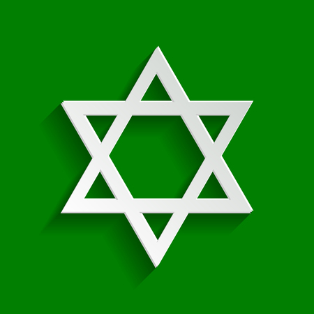 Shield Magen David Star. Symbol of Israel. Vector. Paper whitish icon with soft shadow on green background.