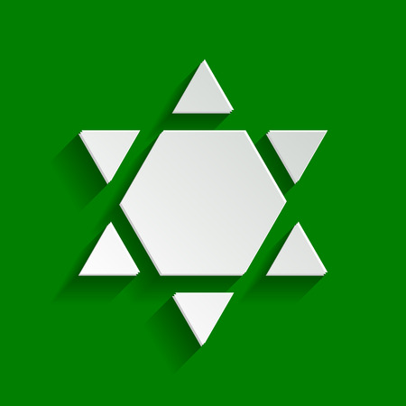 Shield Magen David Star Inverse. Symbol of Israel inverted. Vector. Paper whitish icon with soft shadow on green background.