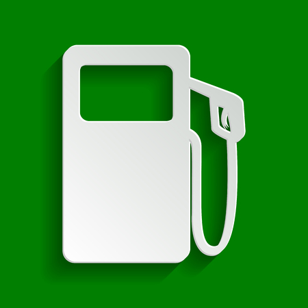 Gas pump sign. Vector. Paper whitish icon with soft shadow on green background.