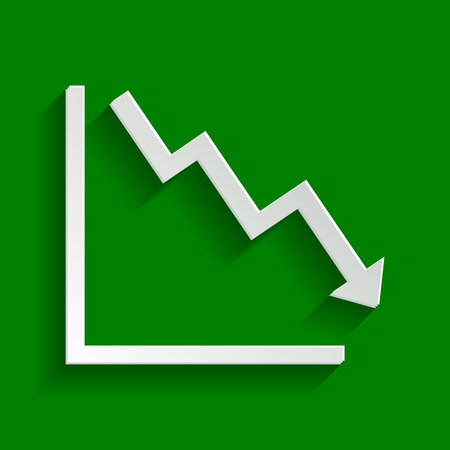 Arrow pointing downwards showing crisis. Vector. Paper whitish icon with soft shadow on green background. Illustration