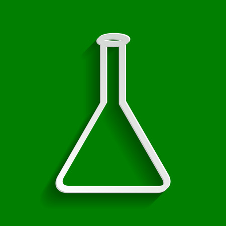Conical Flask sign. Laboratory glass sign. Vector. Paper whitish icon with soft shadow on green background.
