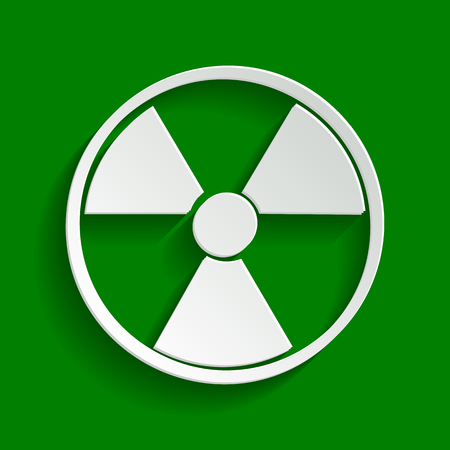 perilous: Radiation Round sign. Vector. Paper whitish icon with soft shadow on green background.