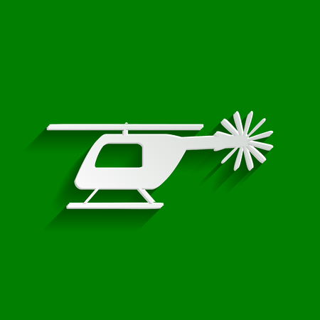 Helicopter sign illustration. Vector. Paper whitish icon with soft shadow on green background.