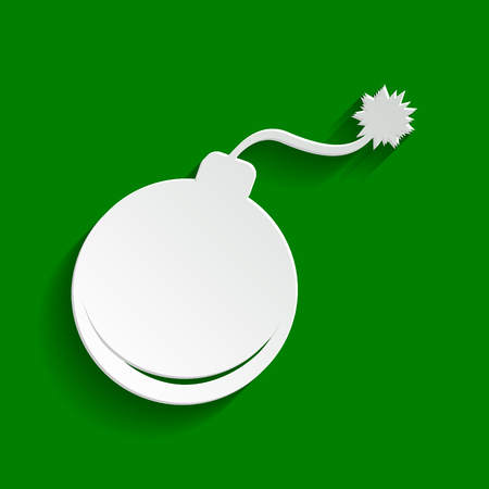 Bomb sign illustration. Vector. Paper whitish icon with soft shadow on green background.