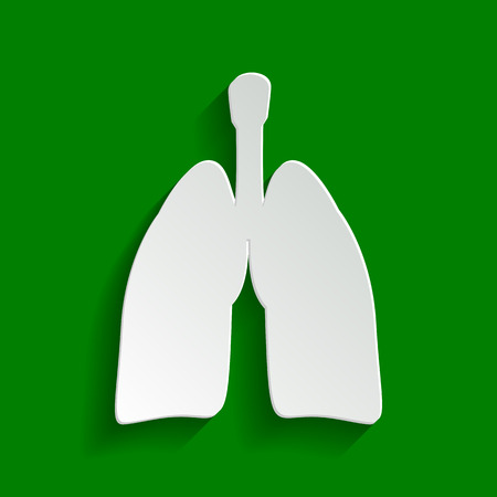 Human anatomy. Lungs sign. Vector. Paper whitish icon with soft shadow on green background. Illustration