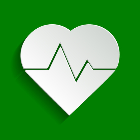 brand monitoring: Heartbeat sign illustration. Vector. Paper whitish icon with soft shadow on green background. Illustration
