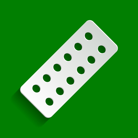 Medical Pills sign. Vector. Paper whitish icon with soft shadow on green background.